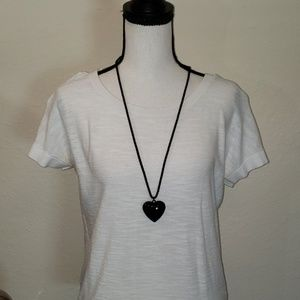 Candie's black heart and chain necklace